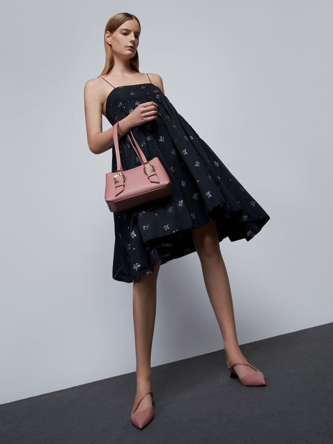 Leather Asymmetric Slingback Pumps, Pink, hi-res