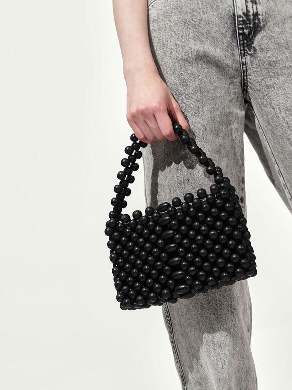 串珠手提包, 黑色, hi-res