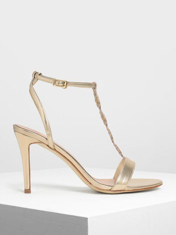 Floral Eyelet Heeled Sandals, Gold, hi-res