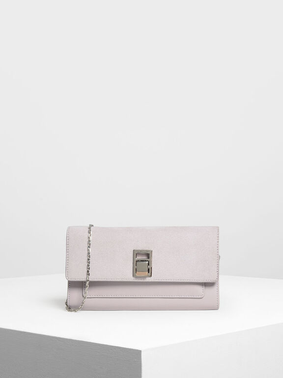 Embellished Push Lock Wallet, Lilac
