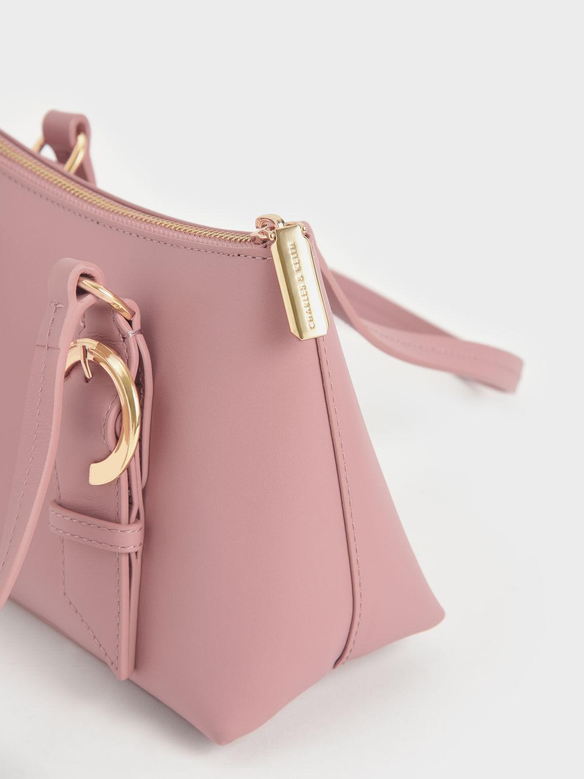 Ring Buckle Leather Shoulder Bag, Pink, hi-res