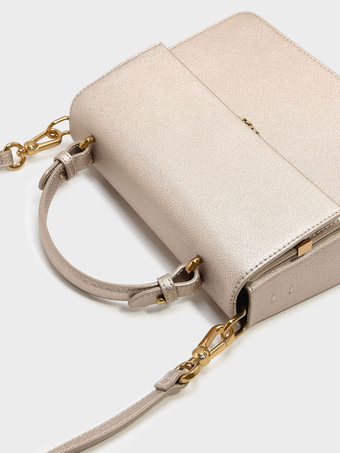 Top Handle Chain Detail Bag, Rose Gold, hi-res