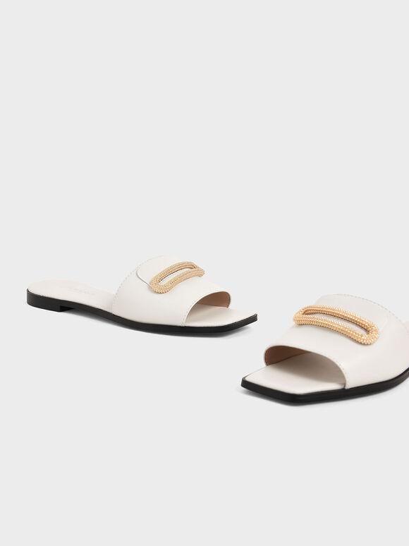 Leather Metallic Accent Slide Sandals, White, hi-res