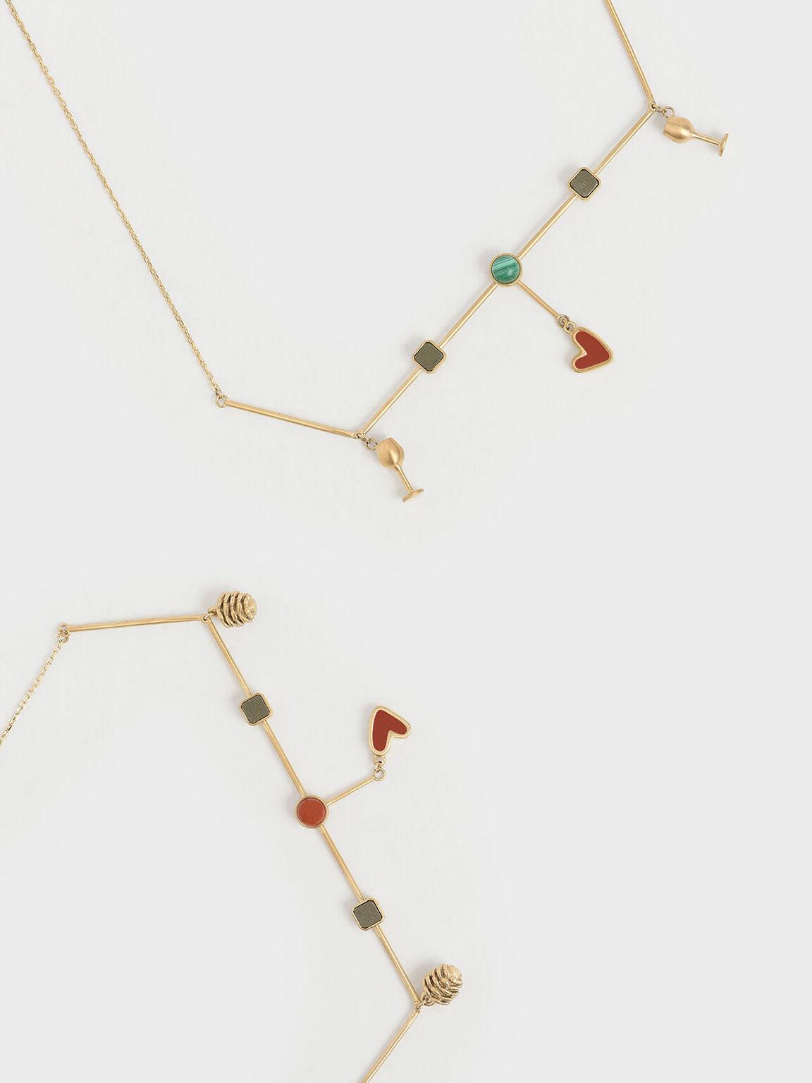 Malachite Stone Horizontal Necklace, Gold, hi-res
