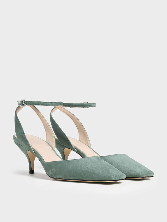Square Toe Ankle Strap Heels, Mint Green