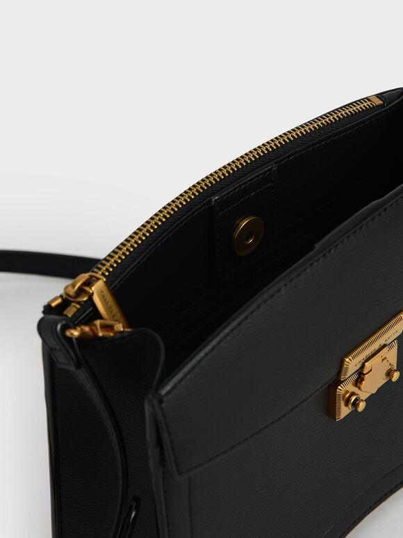 金釦下圓弧小包, 黑色, hi-res