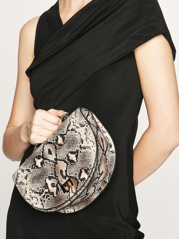 蛇紋半圓手提包, 混色, hi-res
