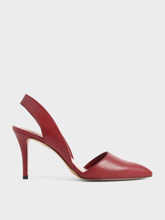 Thick Slingback Strap Heels, Red, hi-res