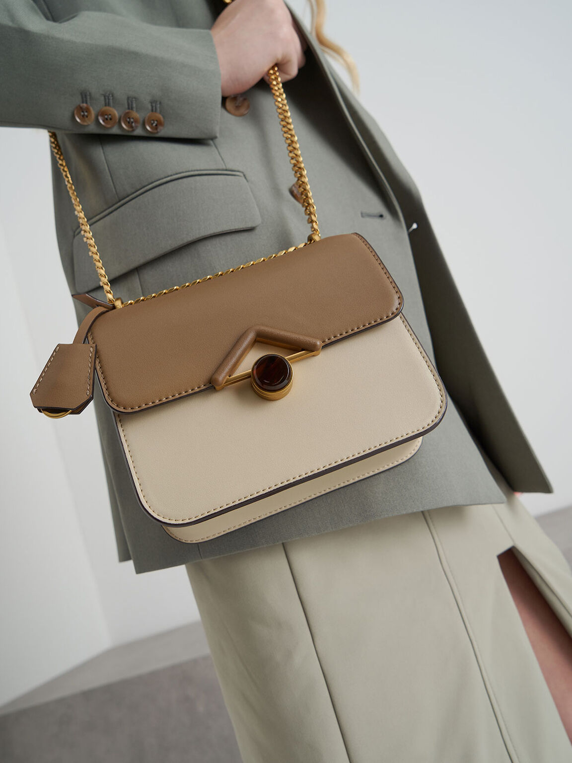 Stone Embellished Crossbody Bag, Khaki, hi-res