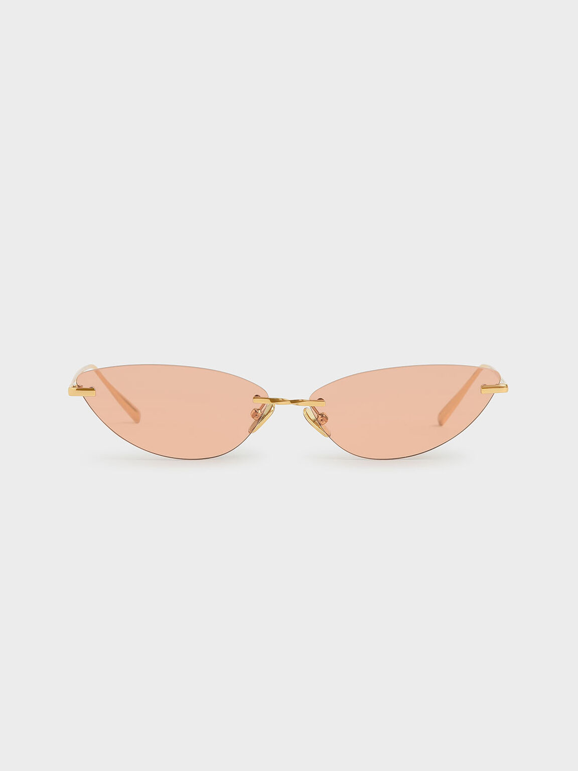Rimless Cat-Eye Sunglasses, Orange, hi-res