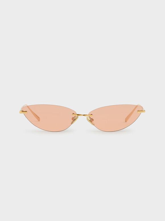 Rimless Cat-Eye Sunglasses, Orange, hi-res