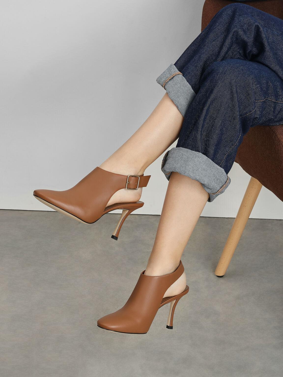 Slingback Ankle Boots, Cognac, hi-res