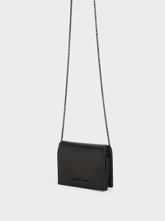 子母扣摺疊短夾, 黑色, hi-res