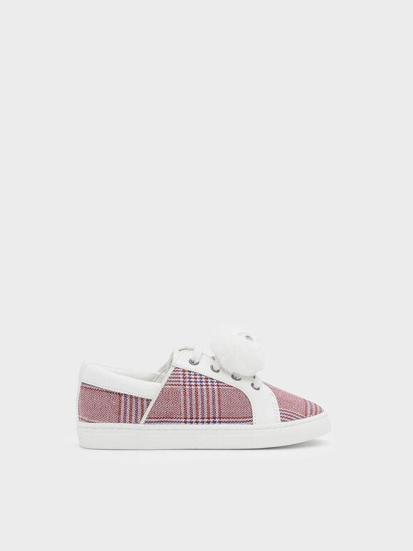 Kids Pom Pom Sneakers, Burgundy, hi-res