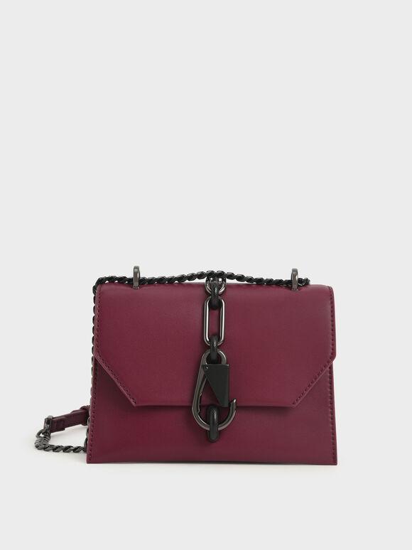 Metallic Accent Turn-Lock Crossbody Bag, Burgundy, hi-res