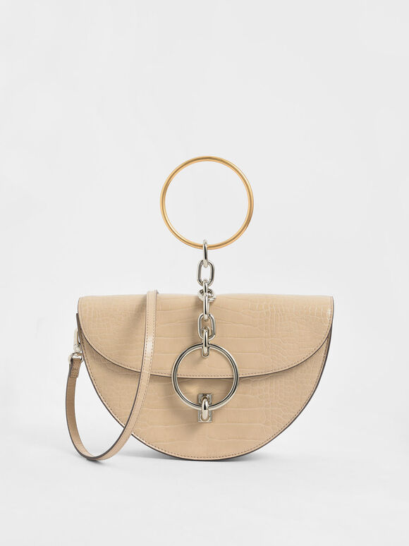 Croc-Effect Half-Moon Bracelet Bag, Beige, hi-res