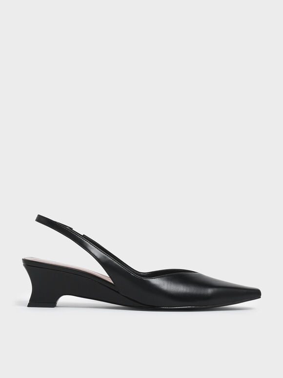 V-Cut Low Sculptural Heel Slingback Pumps, Black, hi-res