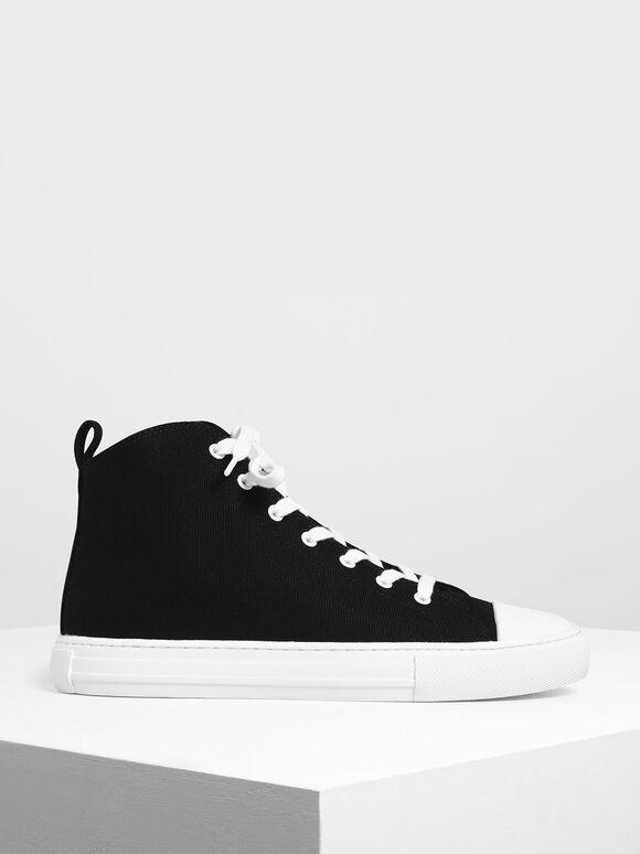 High Top Canvas Sneakers, Black, hi-res
