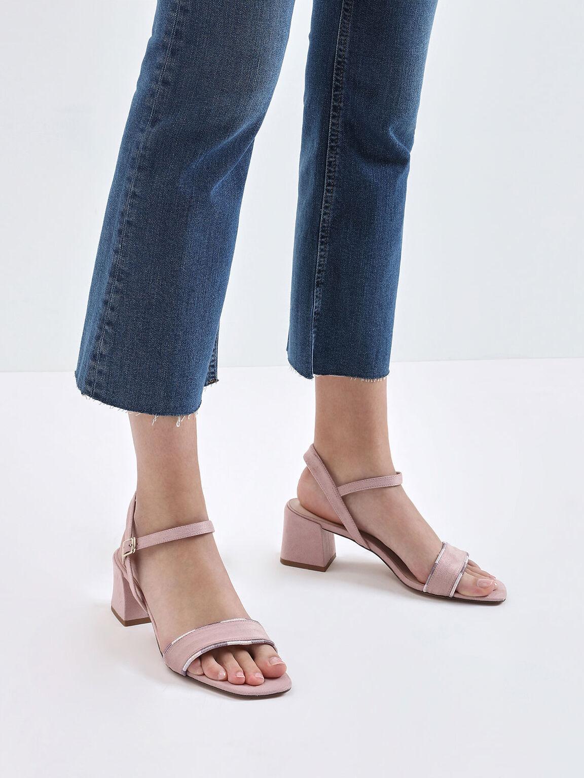 Two-Tone Thread Trim Textured Sandals, Lilac, hi-res