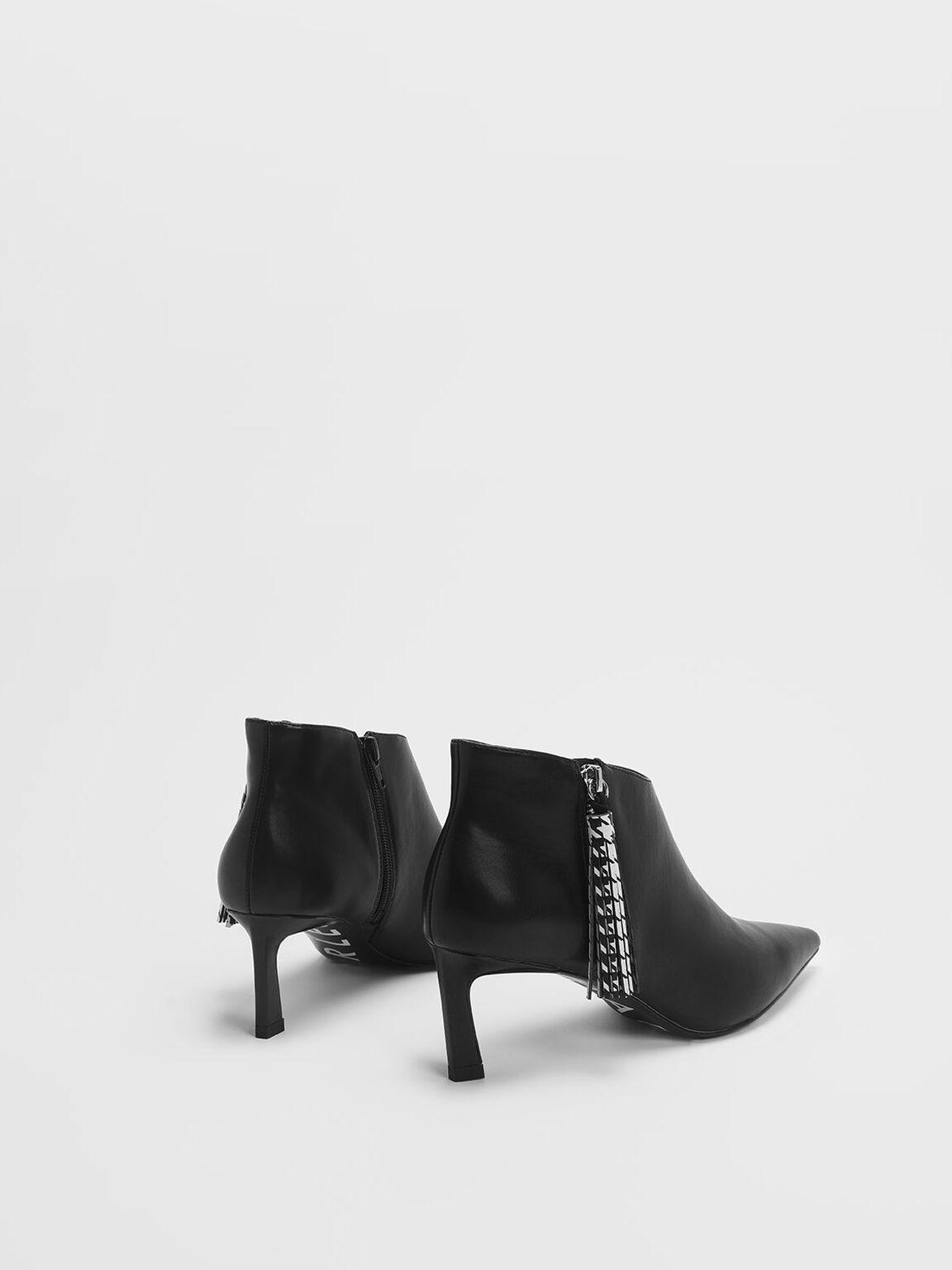 Houndstooth Printed Tassel Heeled Ankle Boots, Black, hi-res