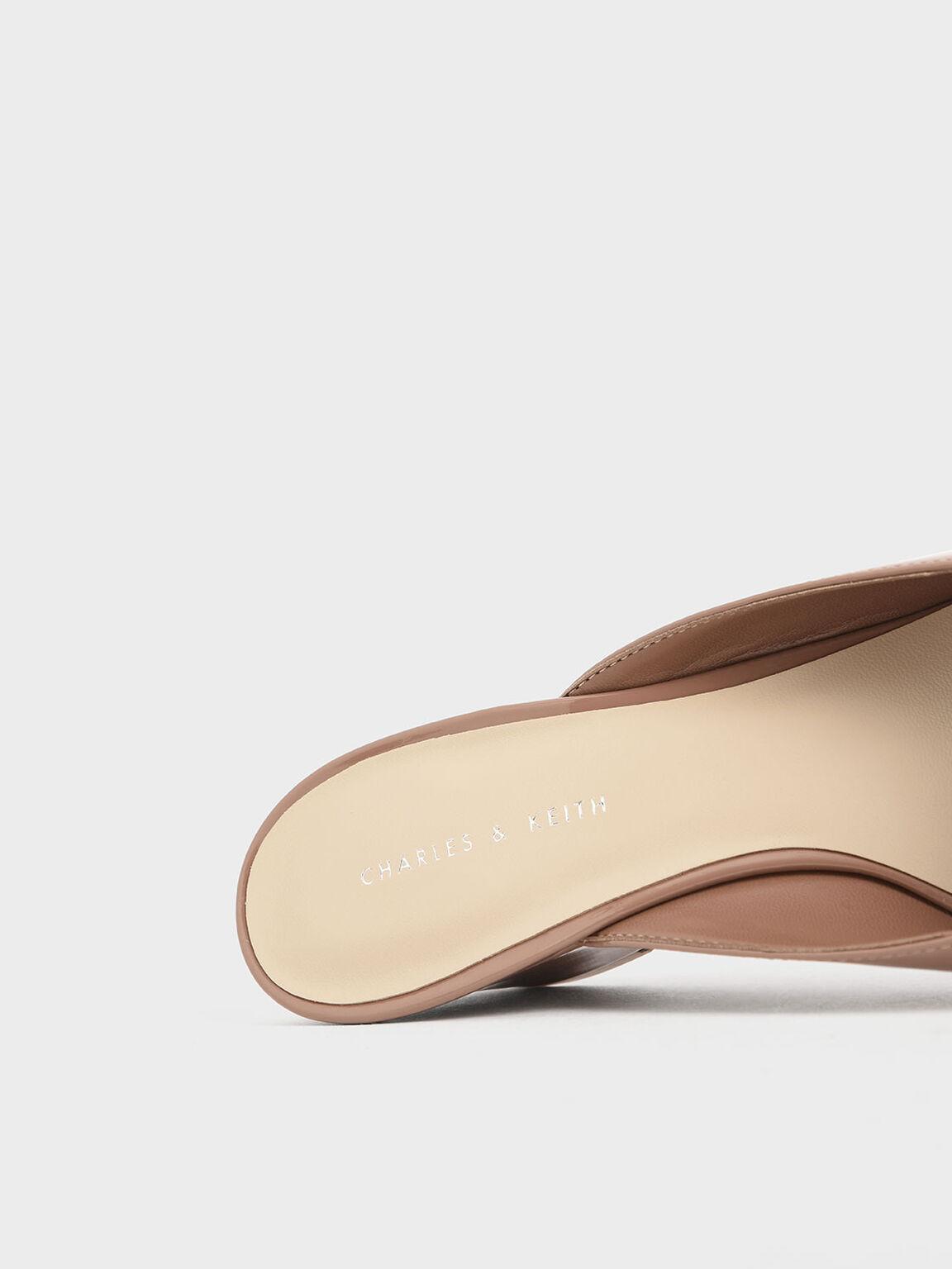 Patent Wedge Heel Mules, Nude, hi-res