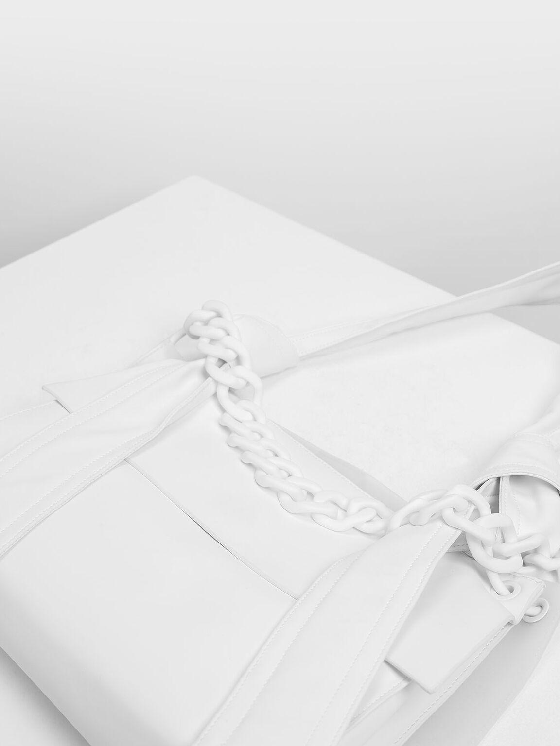 Single Handle Hobo Bag, White, hi-res