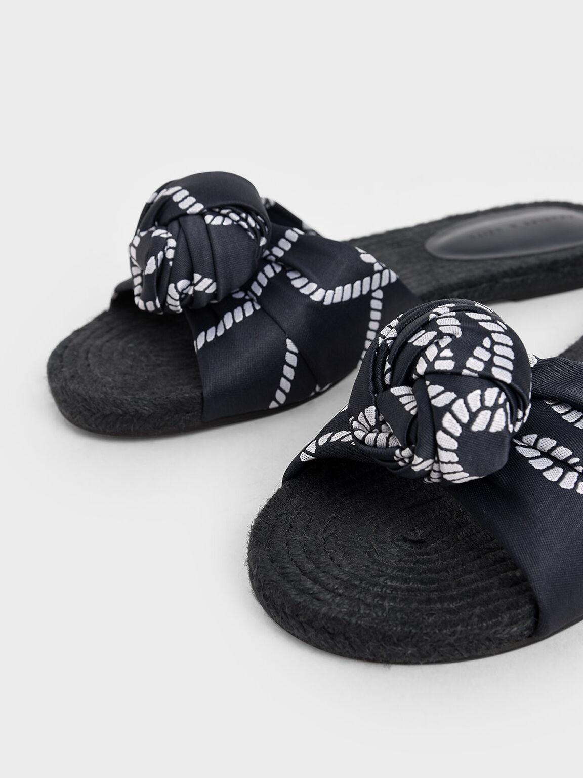 Jacquard Knot Espadrille Slide Sandals, Dark Blue, hi-res