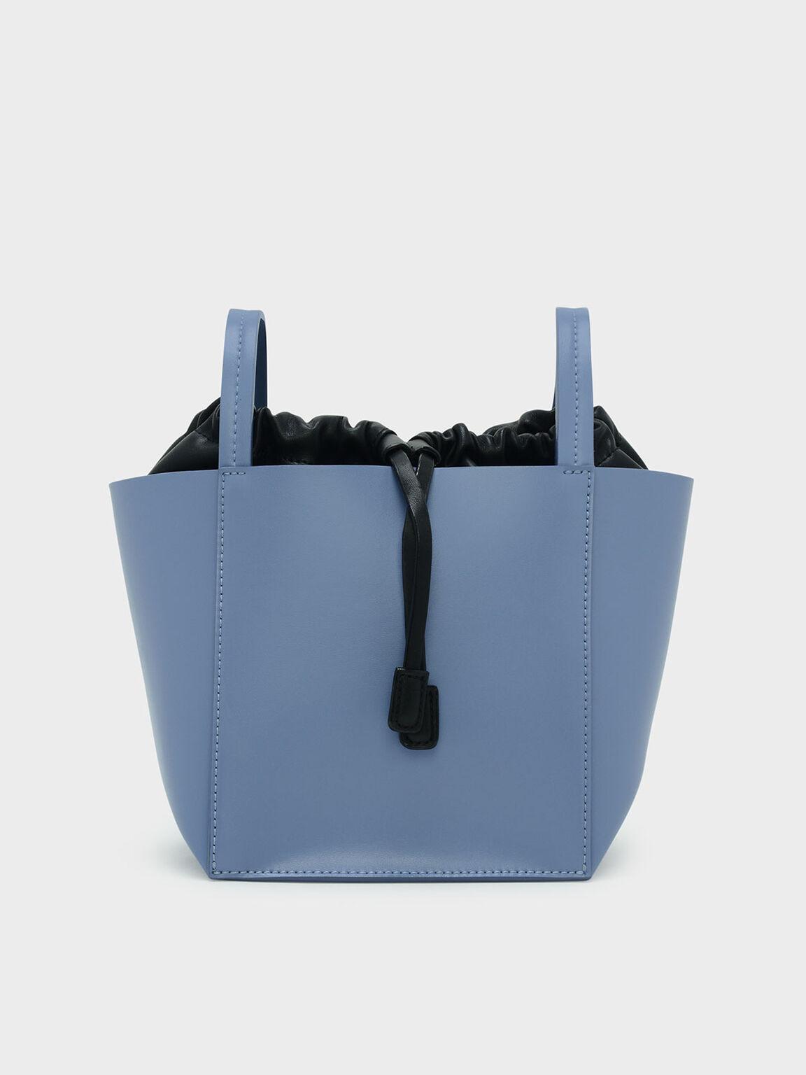 Drawstring Detail Crossbody Bag, Blue, hi-res
