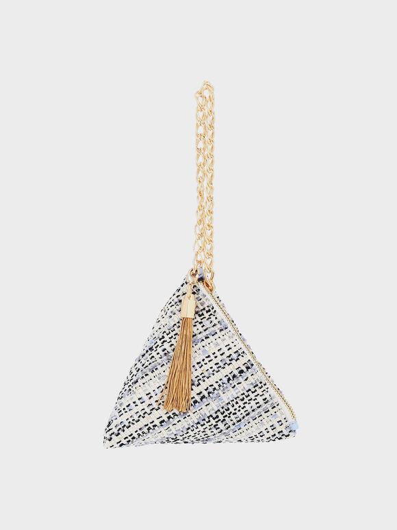 Hera Tweed Pyramid Clutch, Multi, hi-res