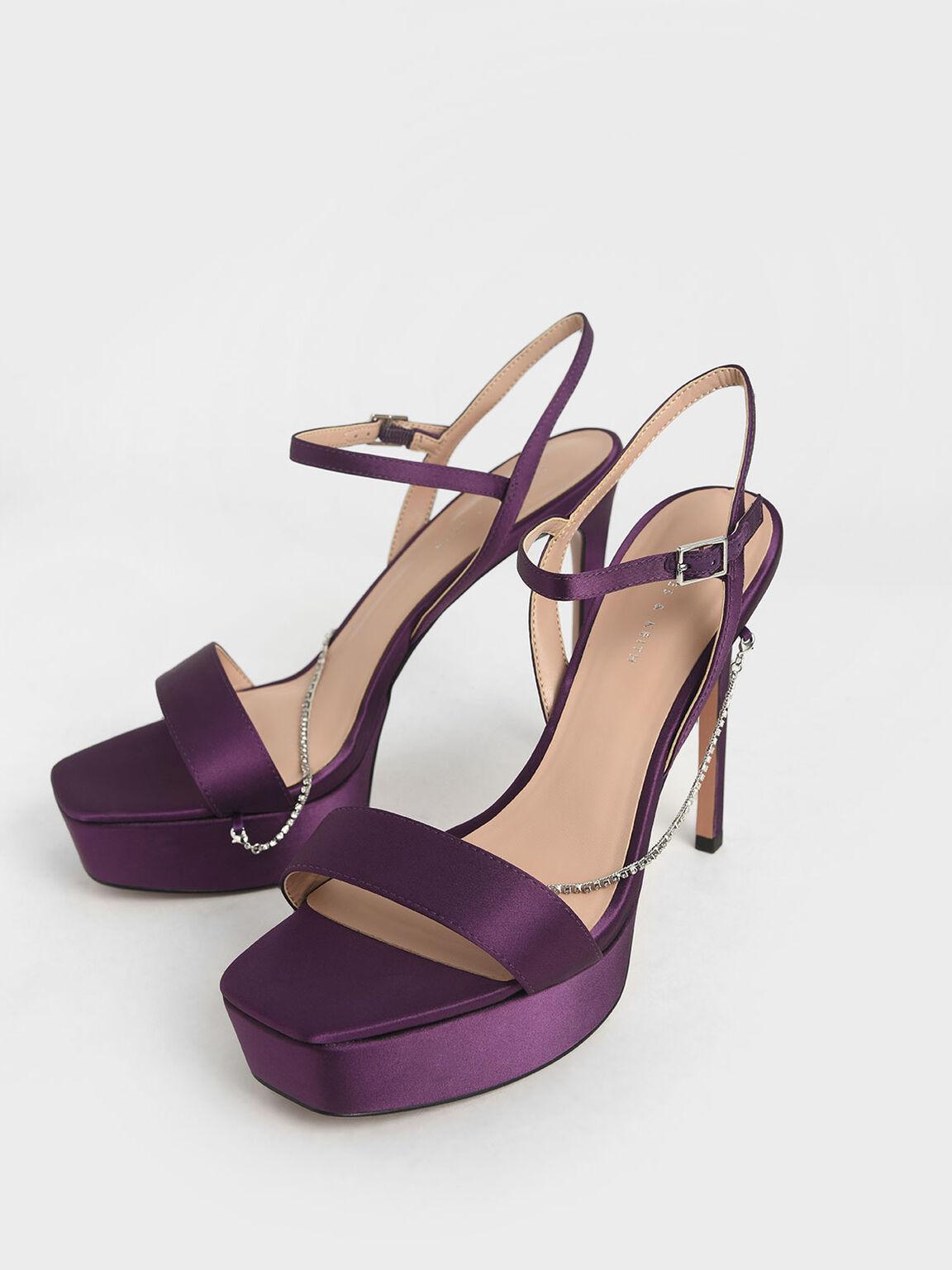 Satin Chain Link Platform Heels, Purple, hi-res