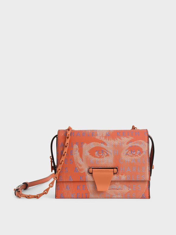 Graphic Printed Push-Lock Bag, Orange, hi-res
