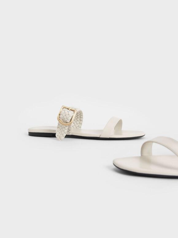 Woven Strap Slide Sandals, Chalk, hi-res