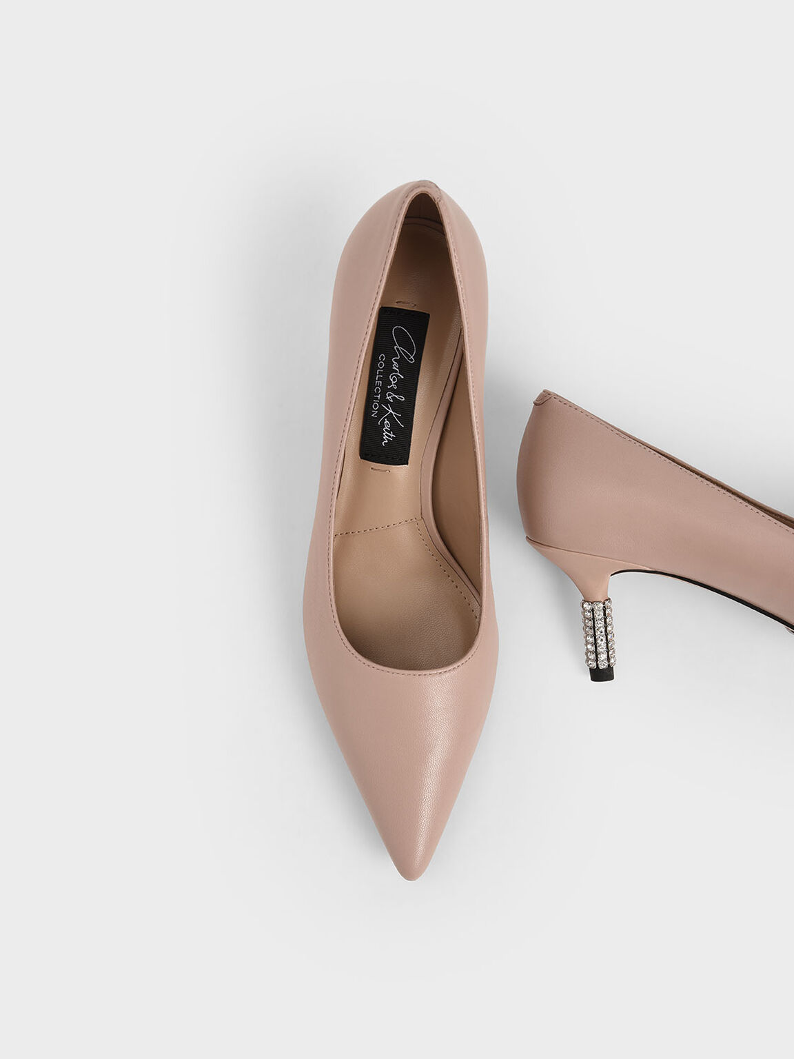 Leather Embellished Heel Pumps, Pink, hi-res