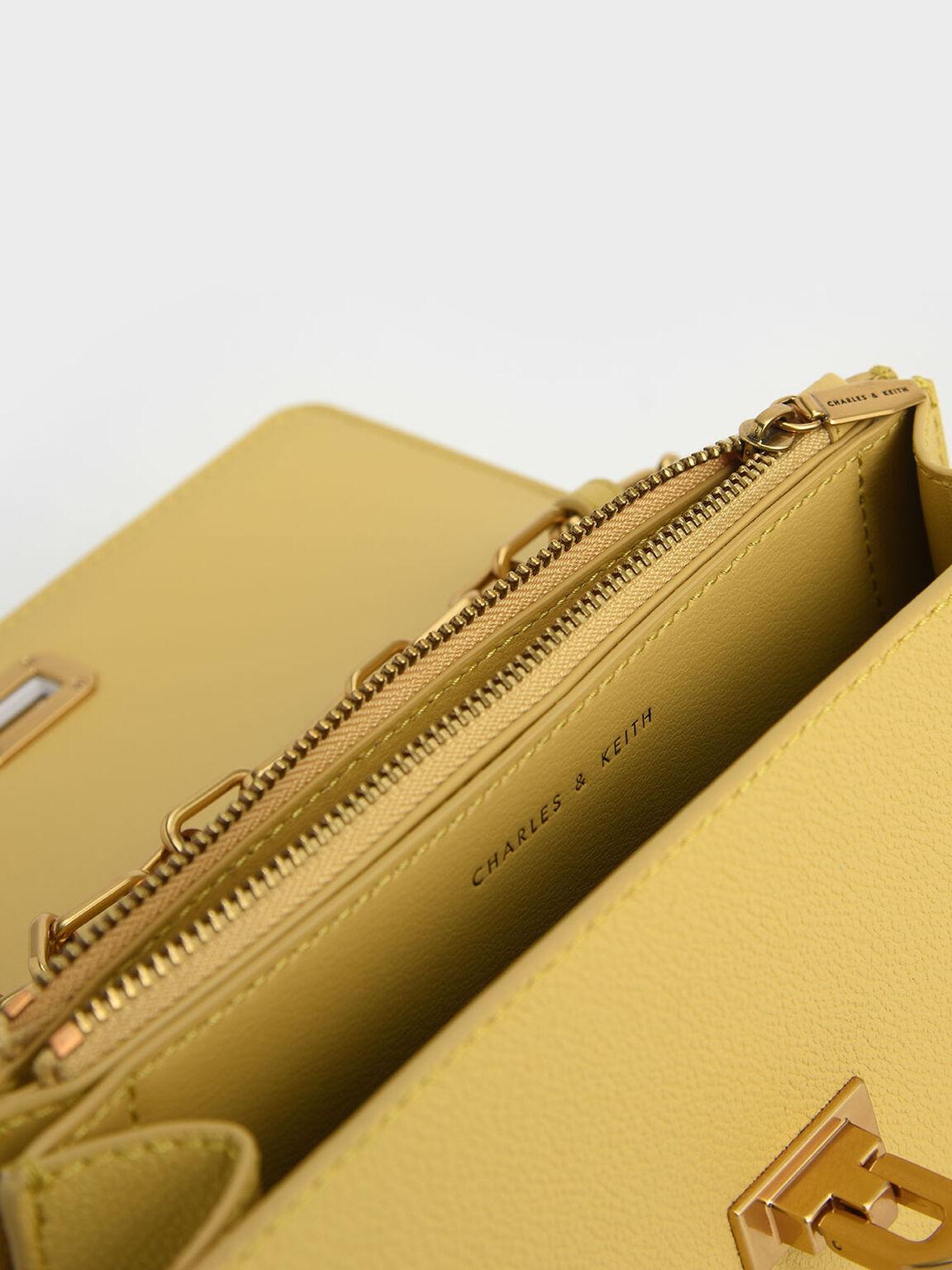 金屬鍊斜背包, 黃色, hi-res