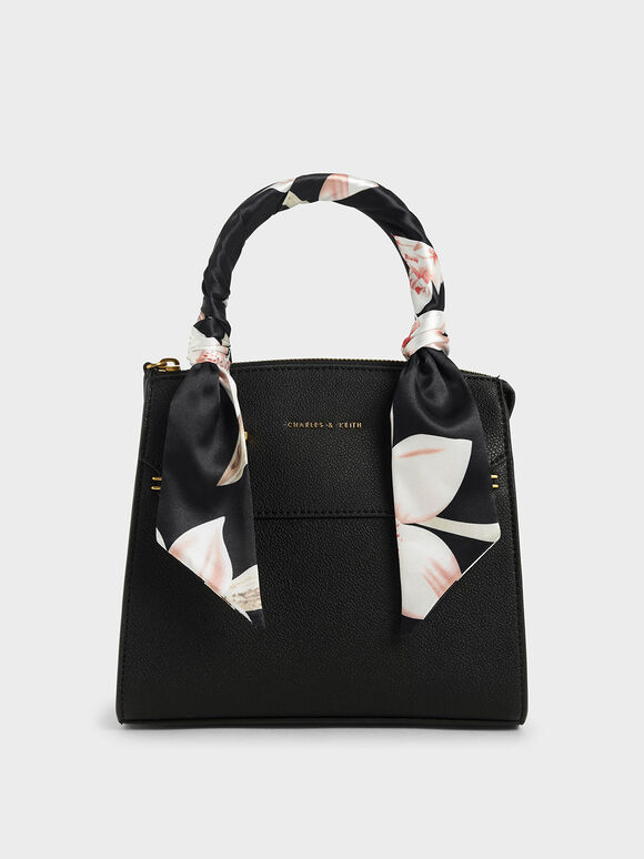 Scarf-Wrapped Top Handle Bag, Black, hi-res