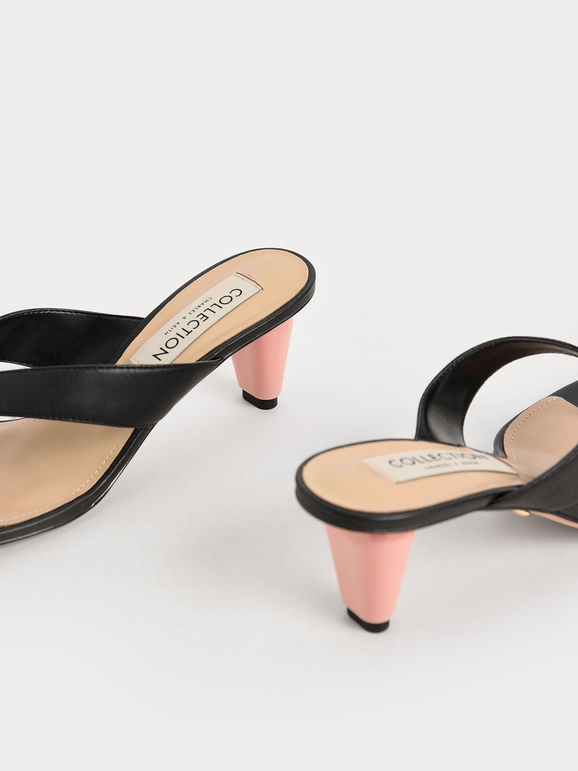 Leather Sculptural Heel Thong Sandals, Black, hi-res