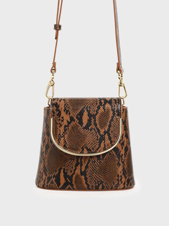 Snake Print Leather Bucket Bag, Multi, hi-res