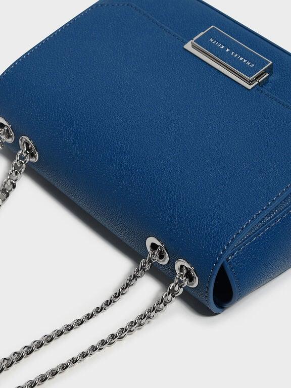 Classic Push-Lock Crossbody Bag, Blue