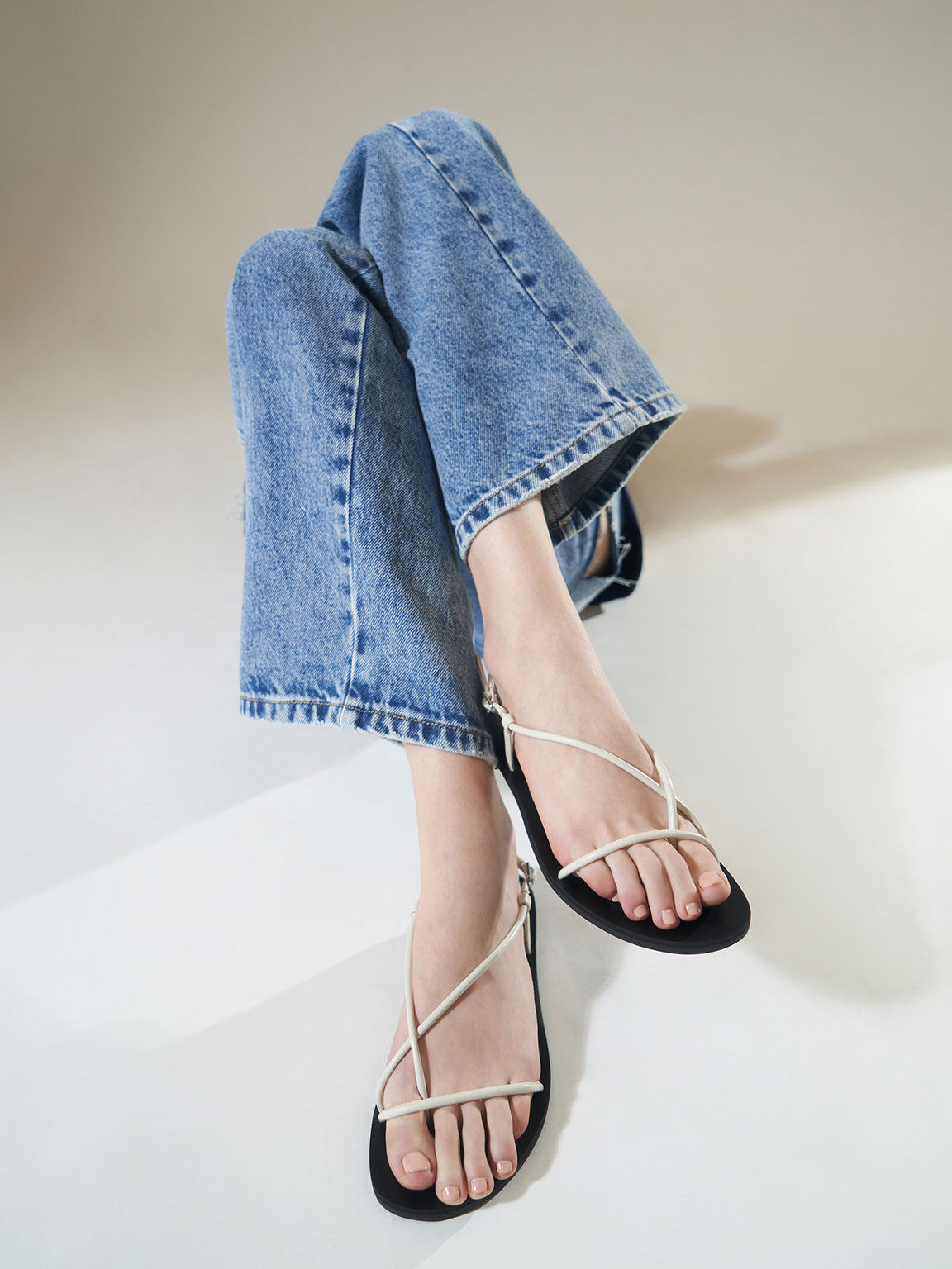 Strappy Thong Sandals, White, hi-res