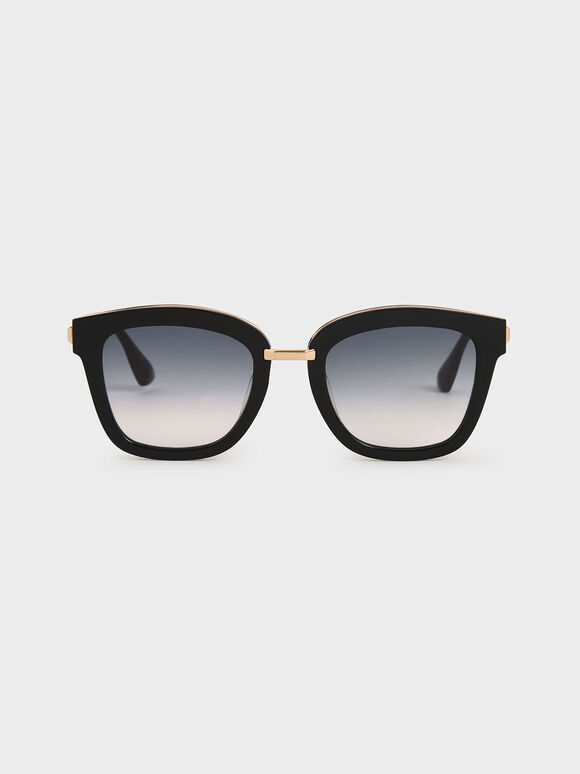 Acetate Wayfarer Sunglasses, Black, hi-res