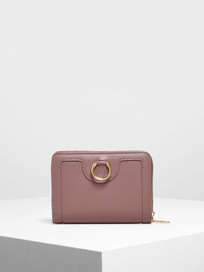 Ring Detail Wallet, Mauve