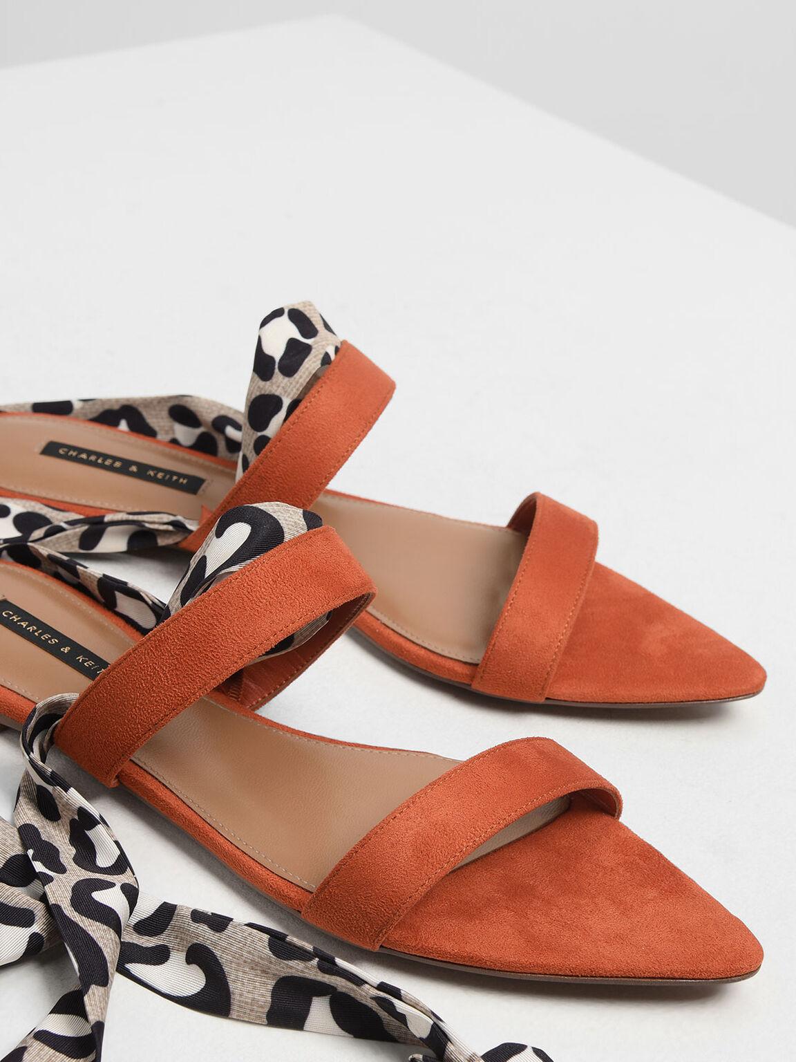 Leopard Print Ankle Wrap Sandals, Brick, hi-res