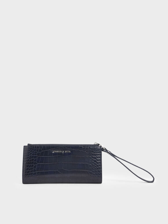 Mini Croc-Effect Wristlet Wallet, Dark Blue, hi-res