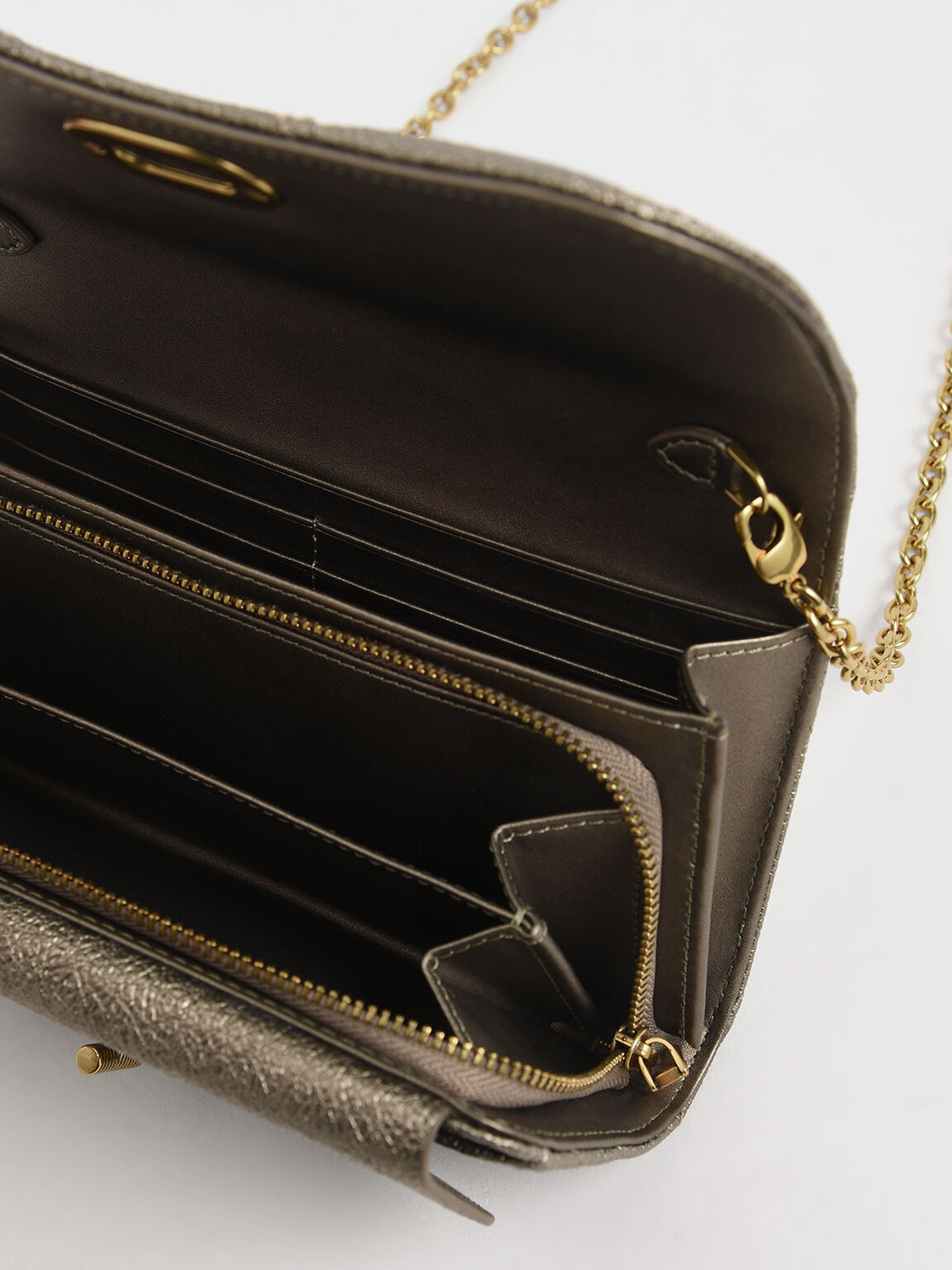 Quilted Turn-Lock Wallet, Bronze, hi-res