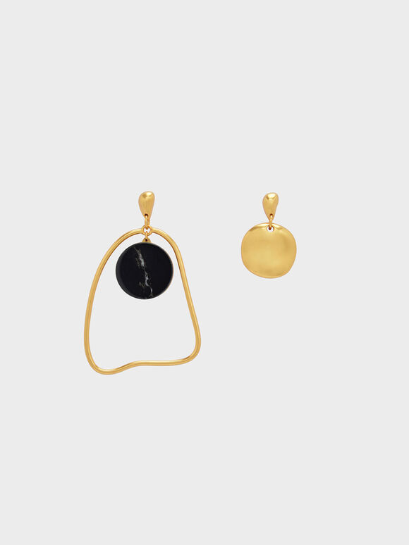 Semi-Precious Stone Mismatch Earrings, Black, hi-res