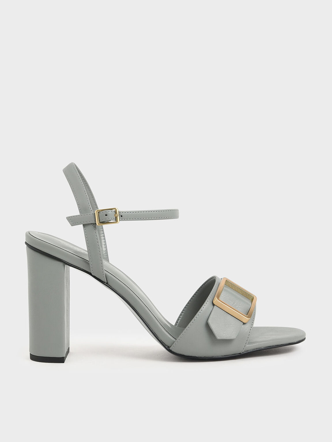 Frame Buckle Chunky Heel Sandals, Light Blue, hi-res