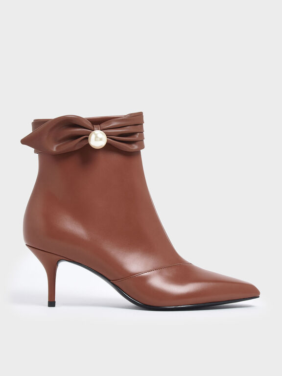 Ruched Embellished Ankle Boots, Brick