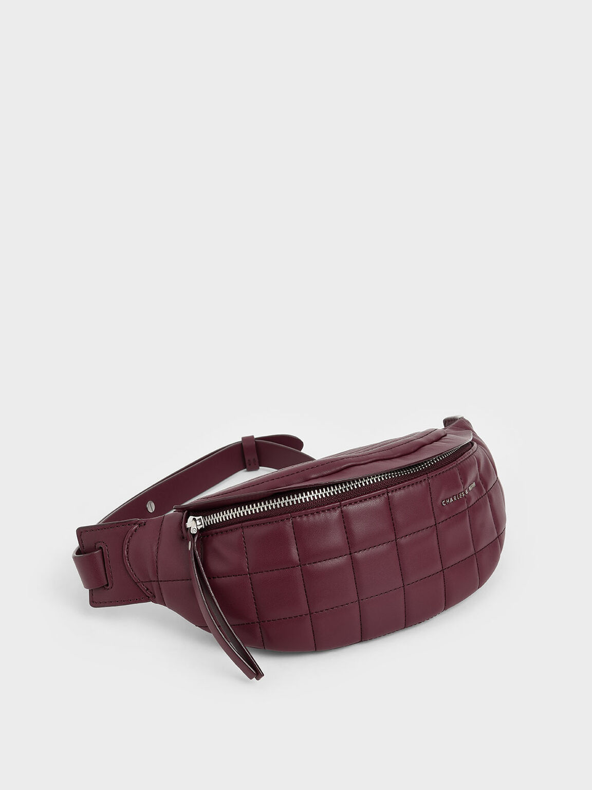 Quilted Belt Bag, Burgundy, hi-res