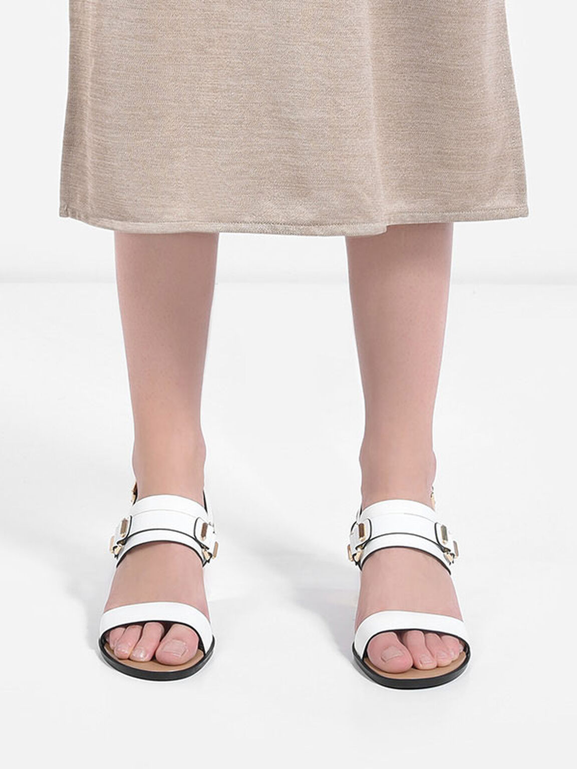 Heeled Sandals, White, hi-res