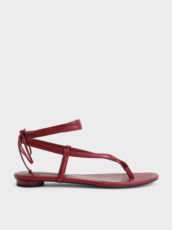 Tie-Around Thong Sandals, Red, hi-res